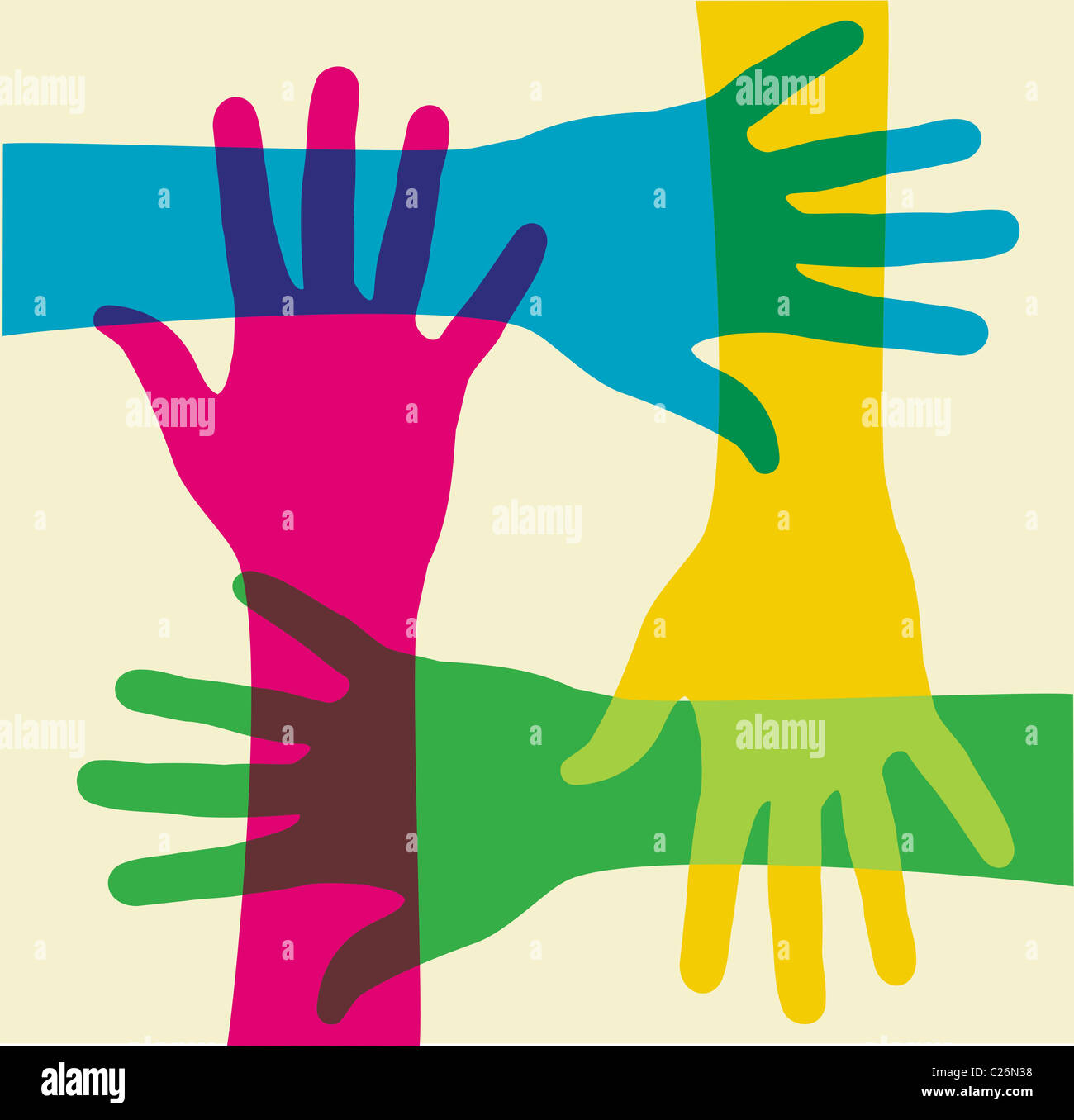 colorful hands illustration over a light background. Vector file available. Stock Photo
