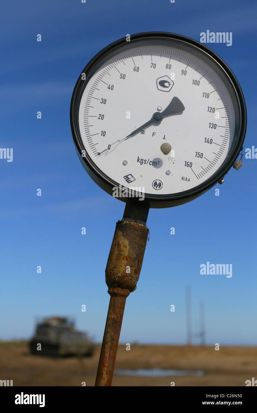 Pressure gauge, arrow in the zero position. Yamal, RUSSIA - Stock Image
