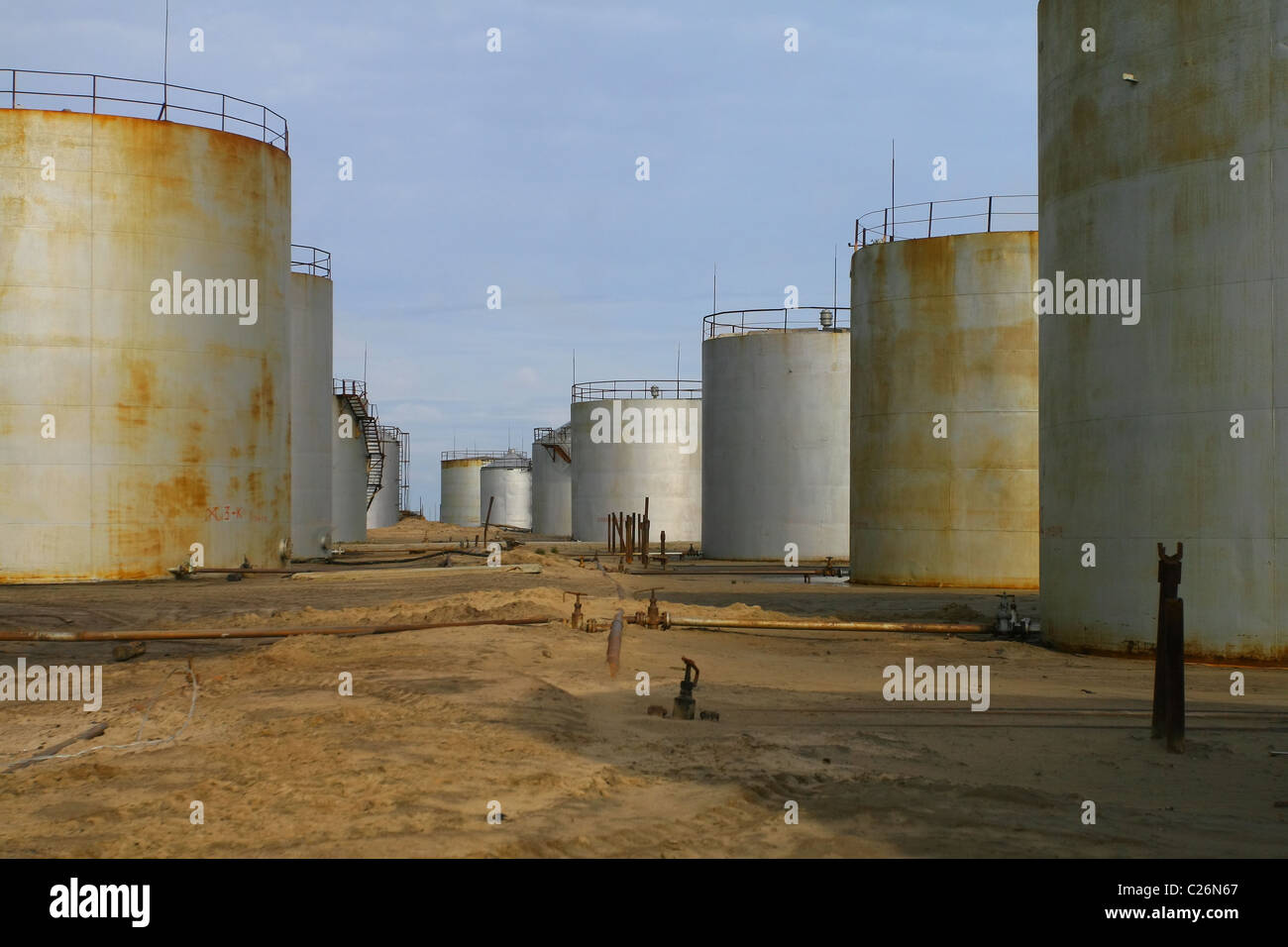 Bulk fuel and lubricant storage. Yamal peninsula, RUSSIA - Stock Image