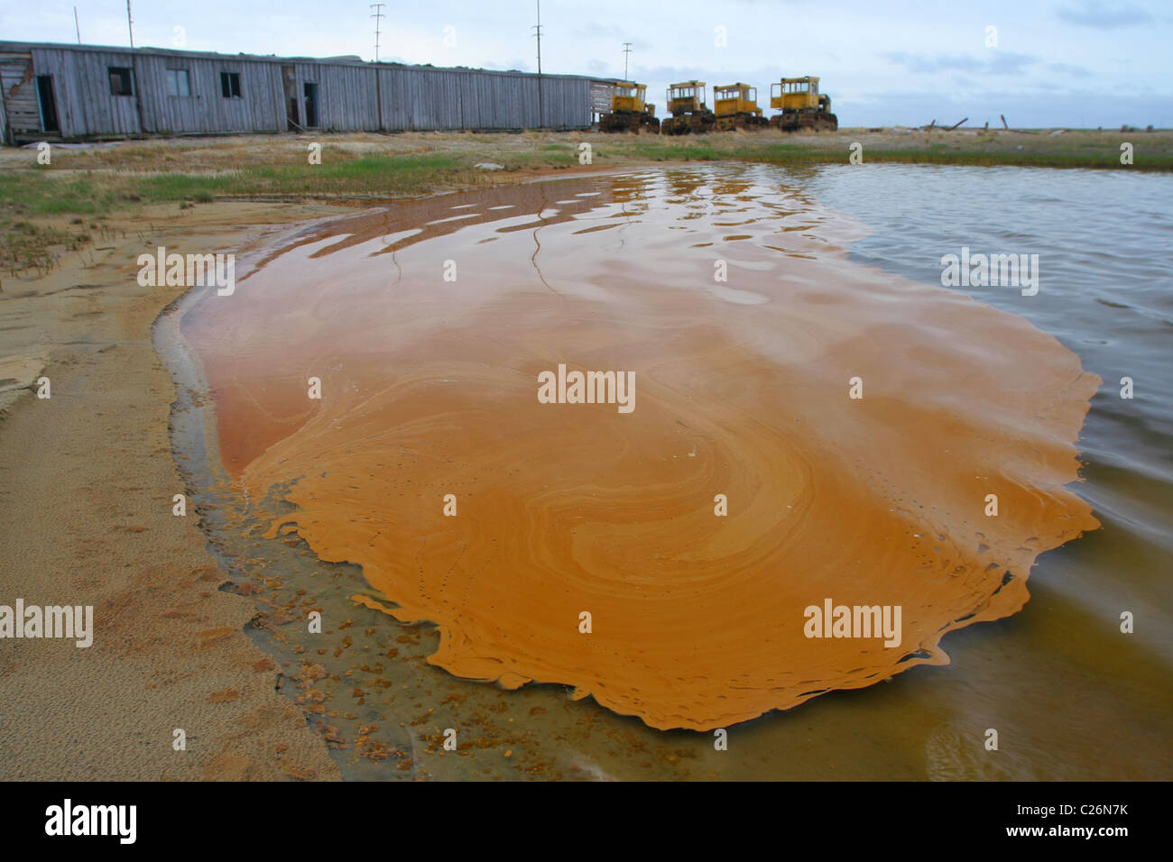 Oil Slick Spill afloat. Yamal, RUSSIA - Stock Image