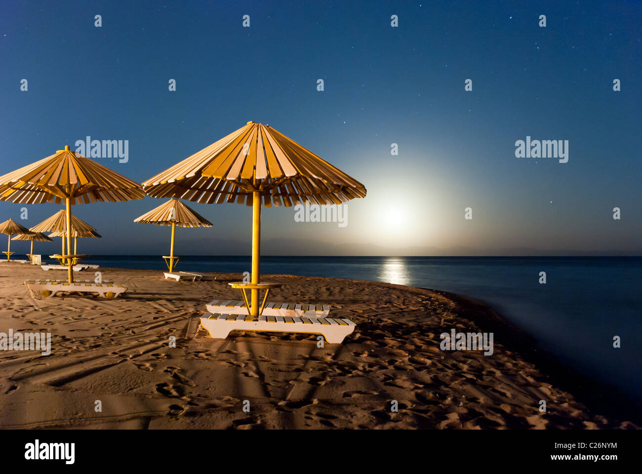 Moonshine in the gulf of Aqaba - Dahab, Sinai Peninsula, Egypt - Stock Image
