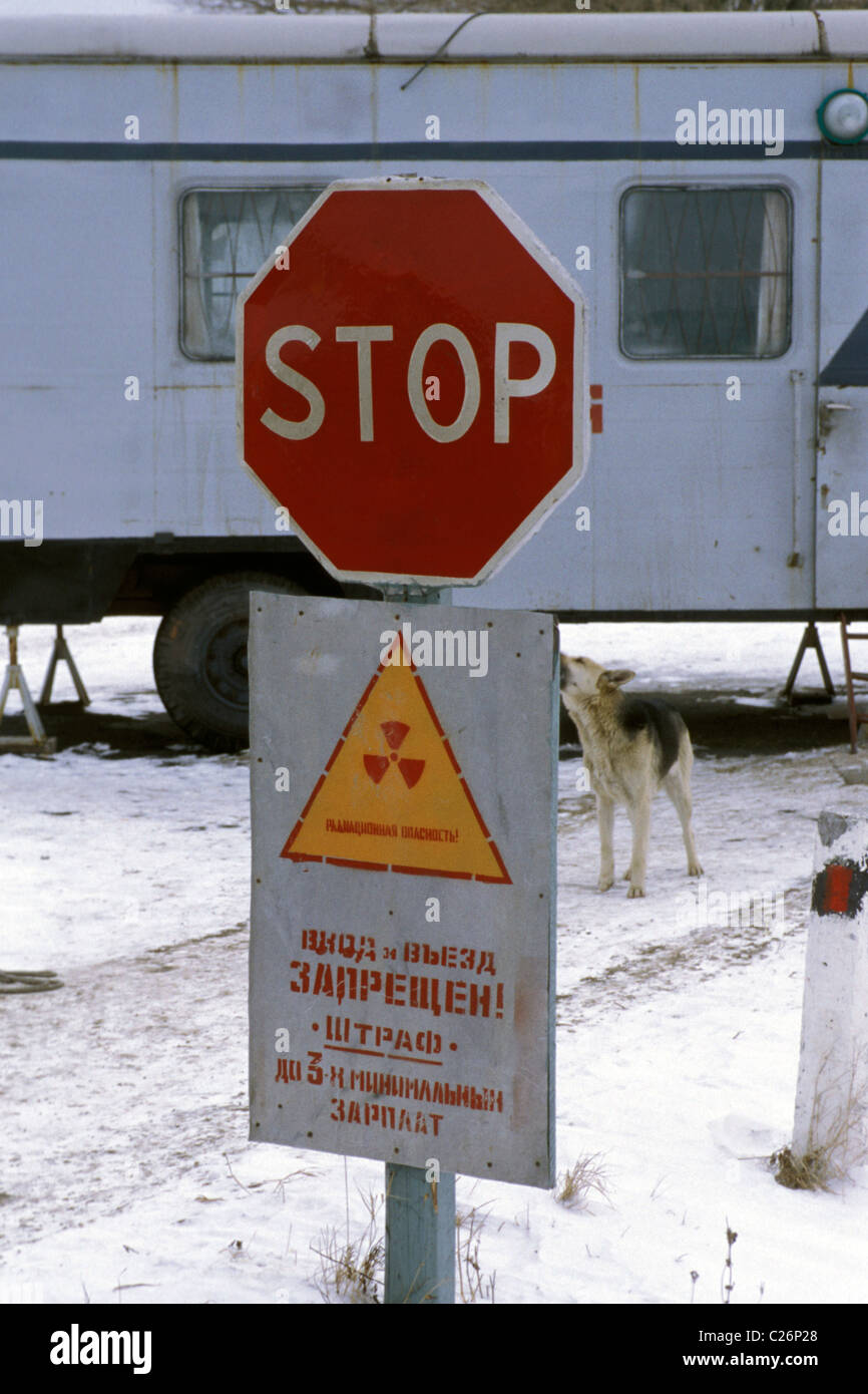 Ten years after the explosion of the nuclear power plant in Chernobyl vast areas were still evacuated.  Radioaktives - Stock Image