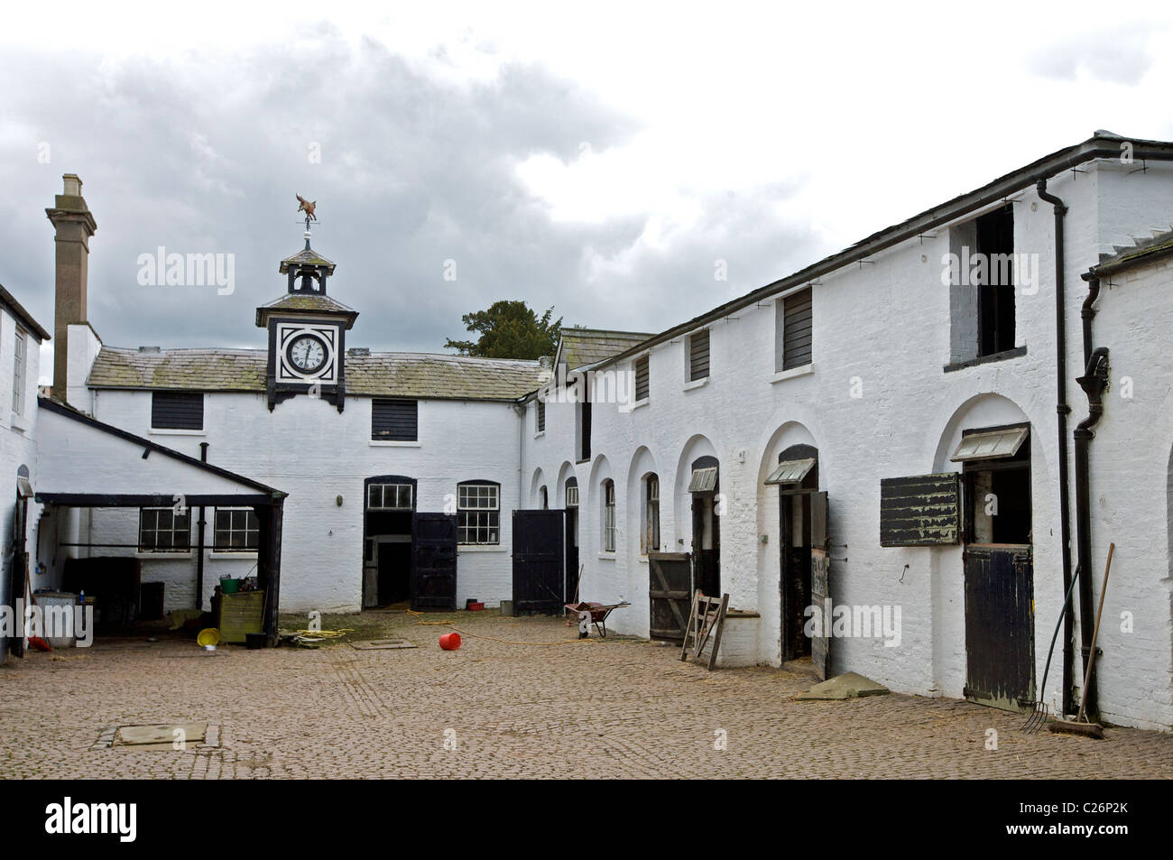 The stable yard at Whatton Gardens, Kegworth, Leicestershire, England, UK - Stock Image