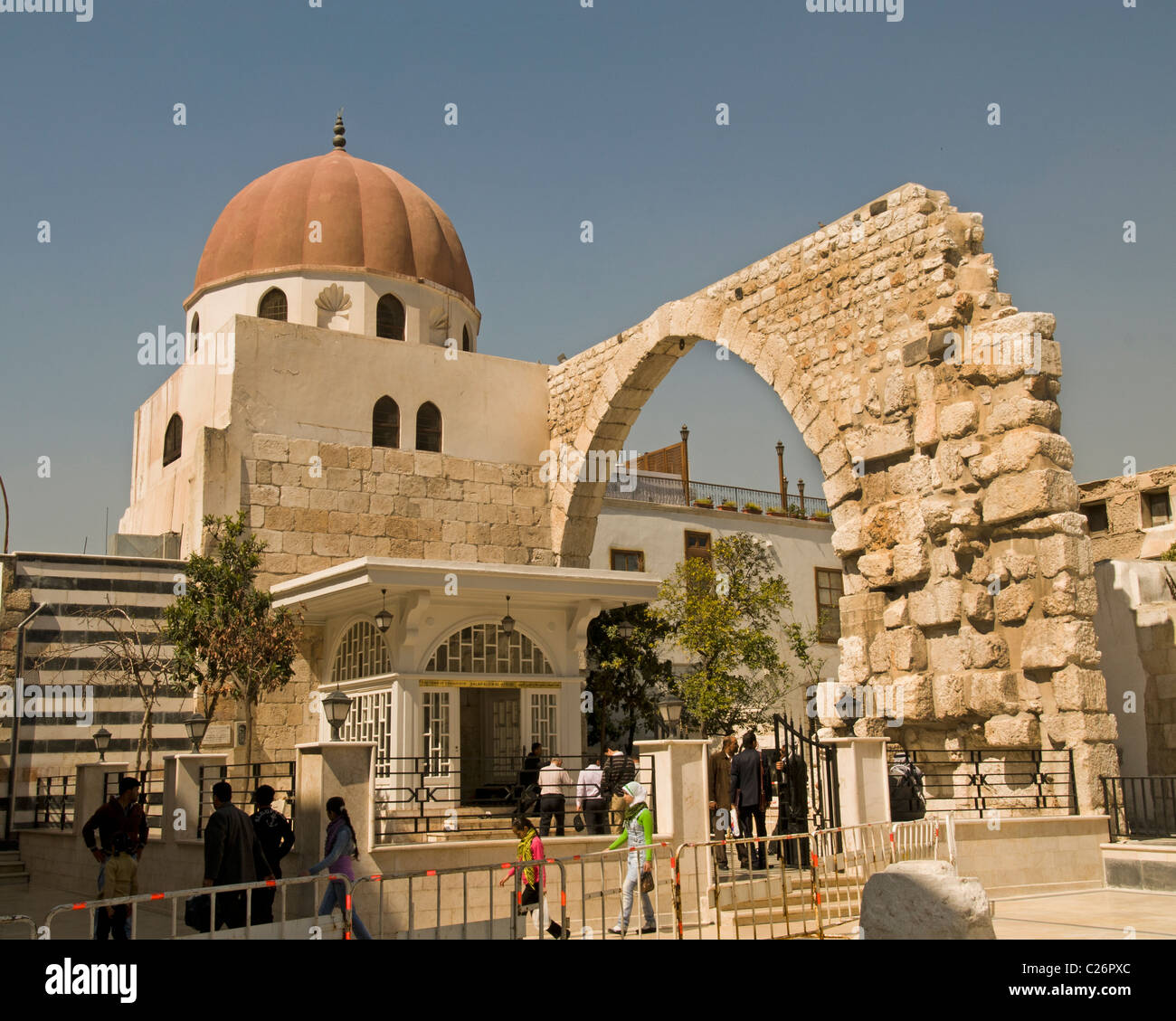 Western Temple Gate Roman Temple of Jupiter Old Damascus Syria - Stock Image