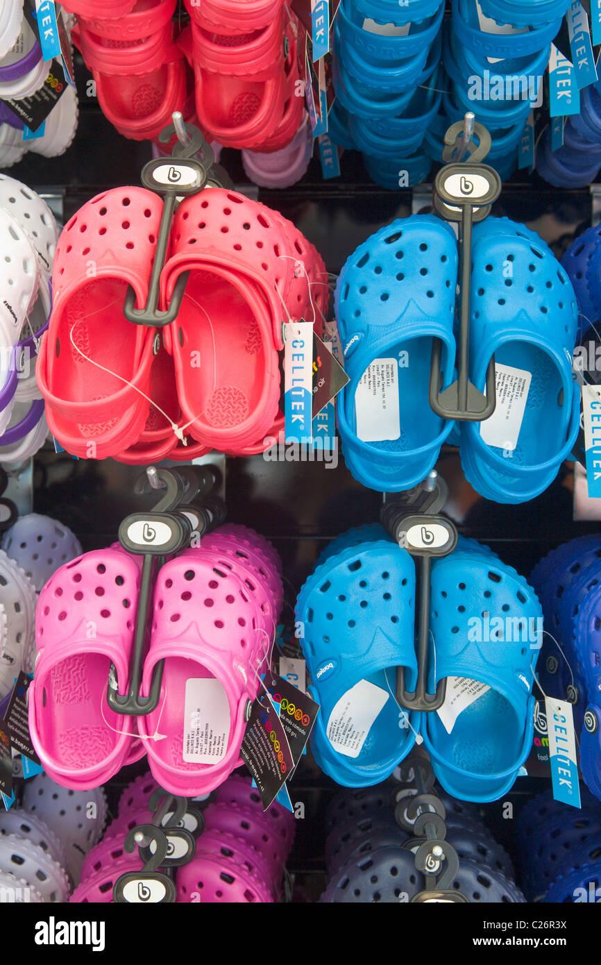 Display of Croc Sandals - Stock Image