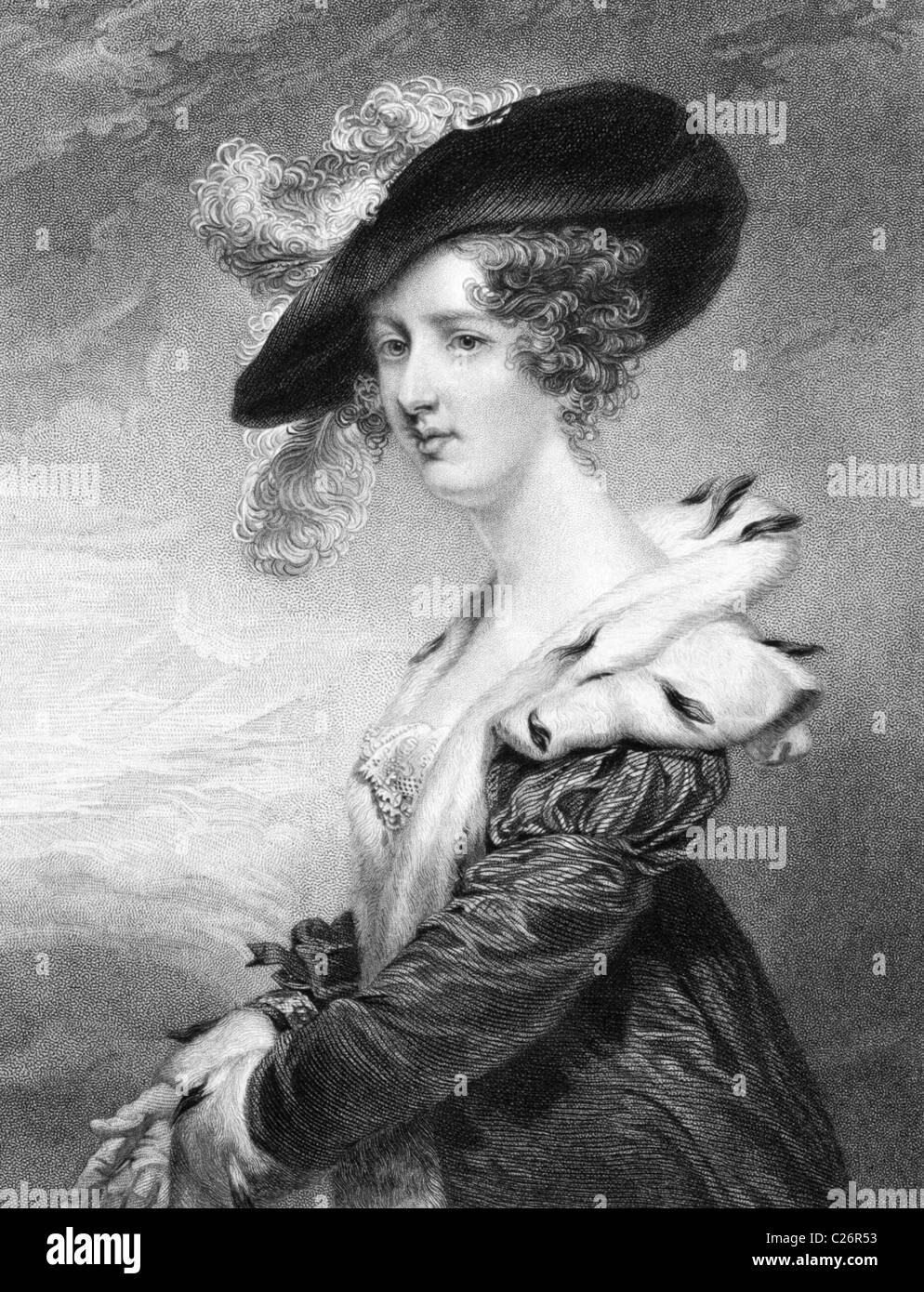 Georgiana Dowager, Lady Dover on engraving from 1840. - Stock Image