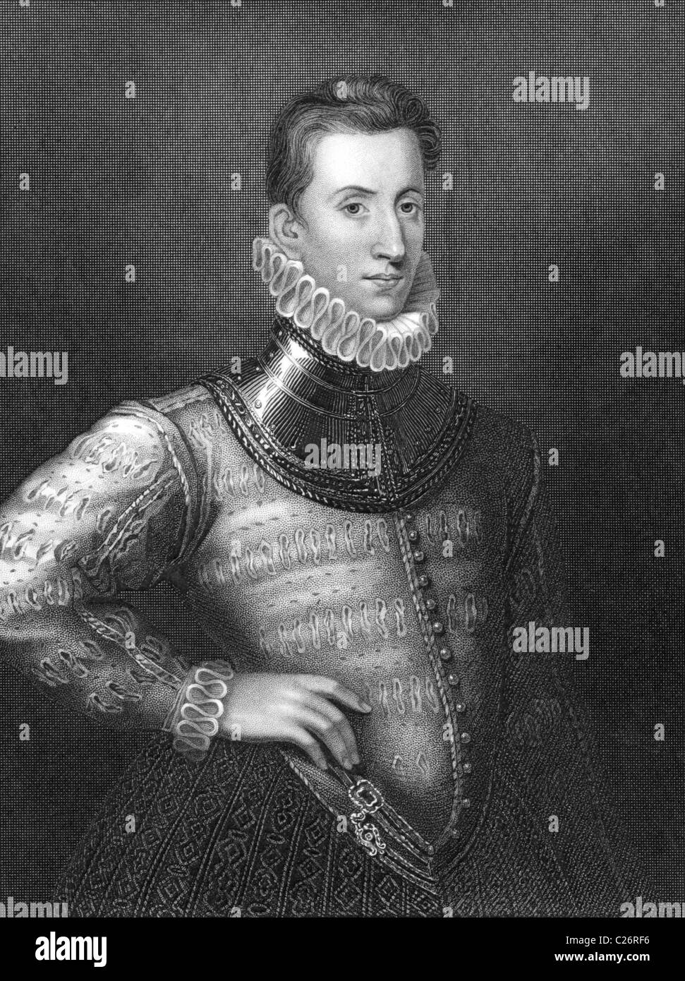 Sir Philip Sidney (1554-1586) on engraving from 1838. English poet, courtier and soldier. - Stock Image