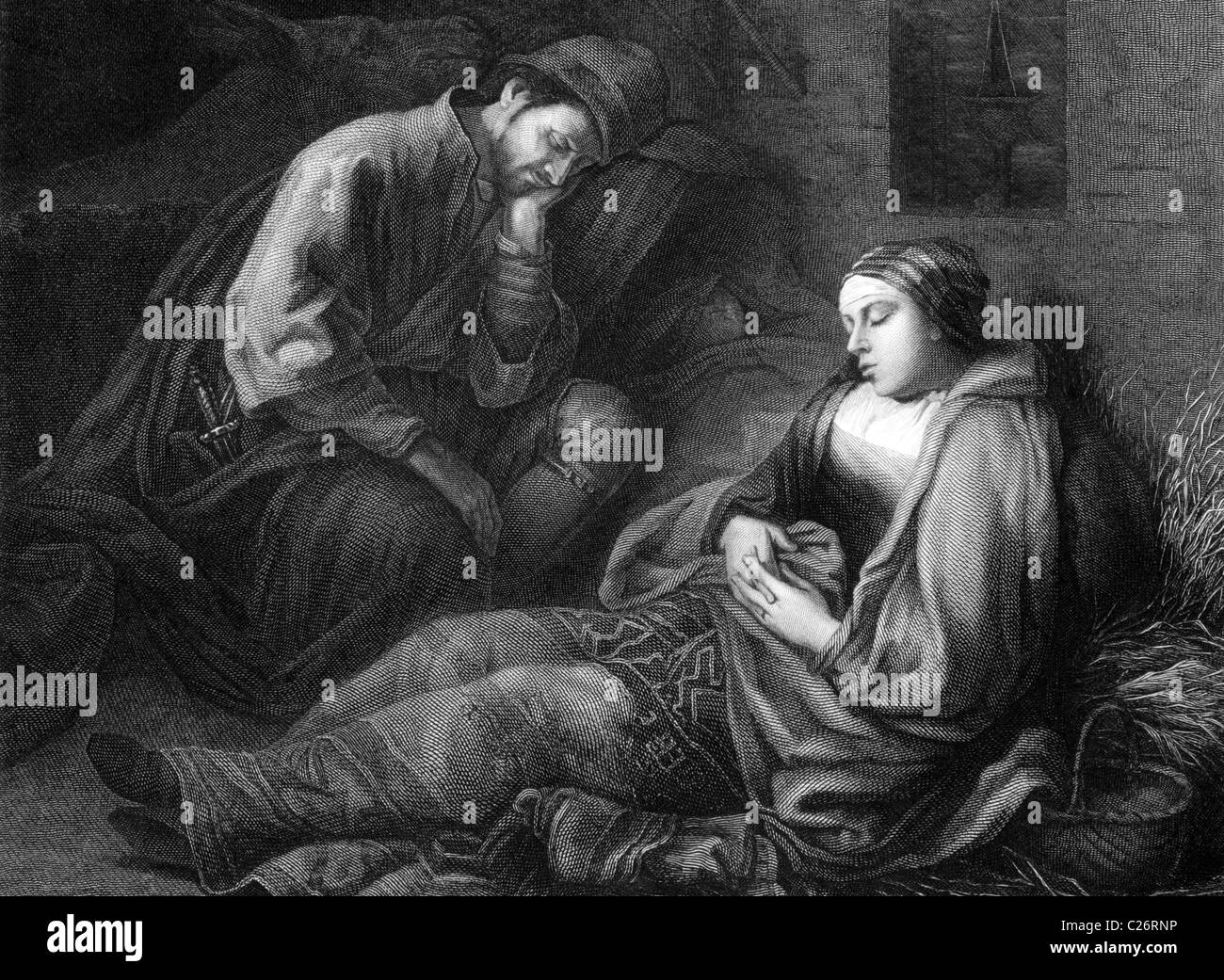 Weary travelers on engraving from 1875. Engraved by Mauduit after a painting by Rembrandt. - Stock Image