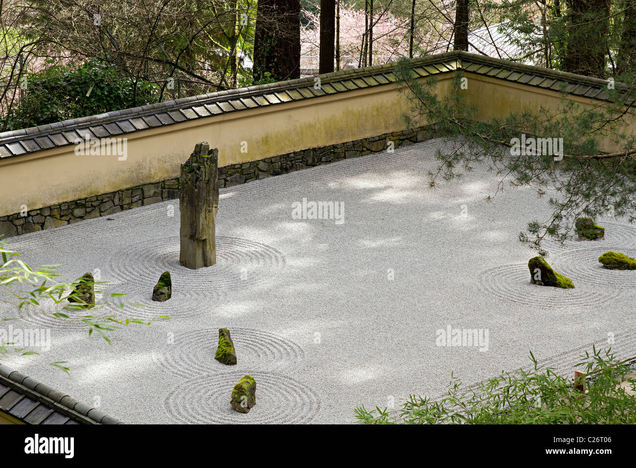 Japanese Garden Sand and Stone Garden in Portland Oregon - Stock Image