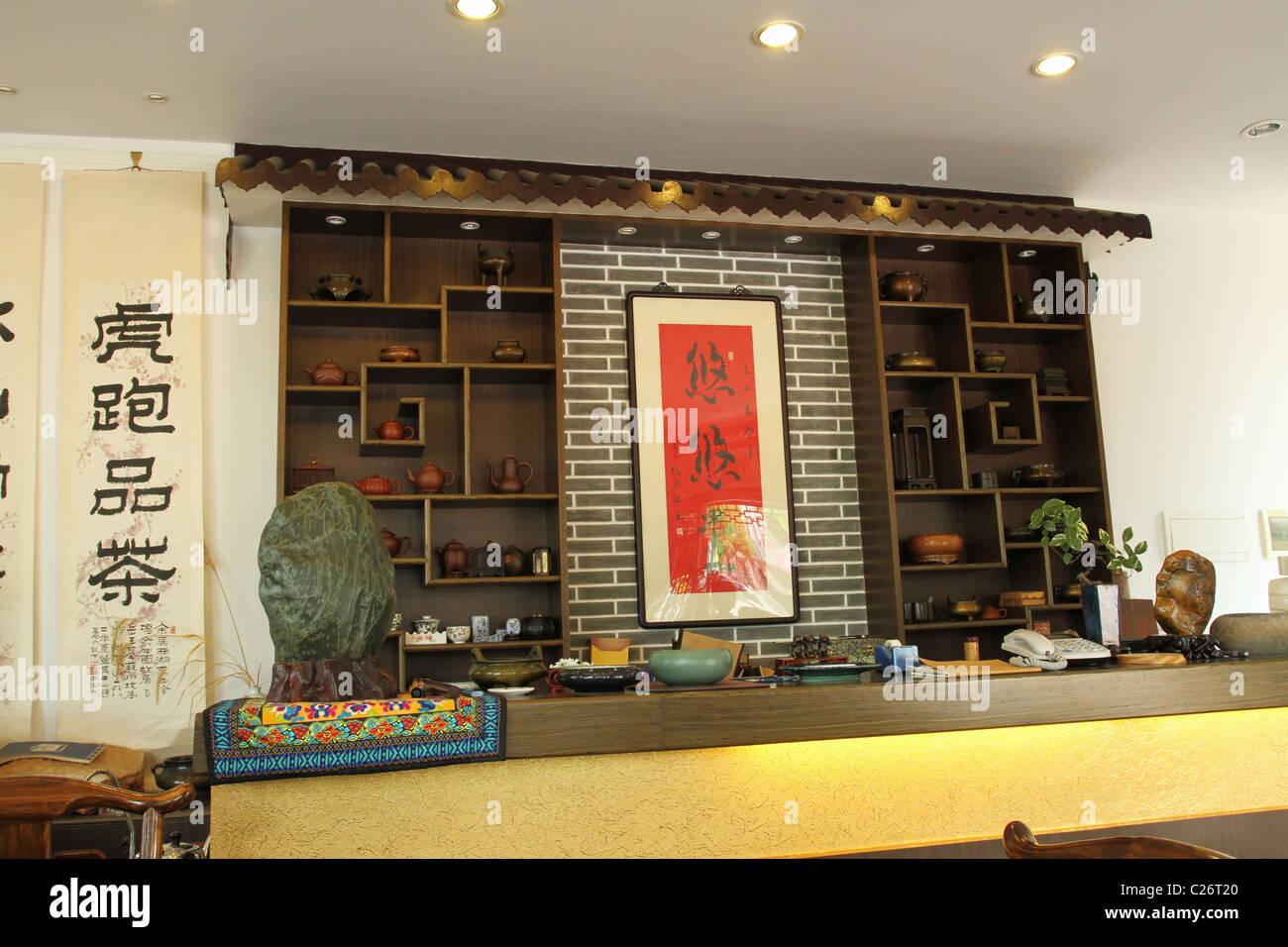 Tea Pot display. Tea House at Shanghai Jinqiao International Tea City. Pudong, Shanghai, China. - Stock Image