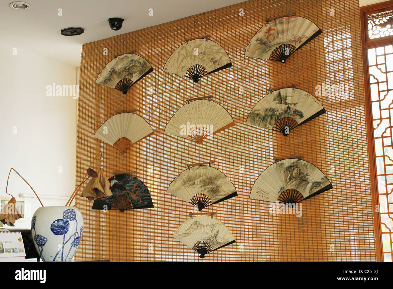 a07355061b4df Chinese Fans on bamboo screen for sale. Tea House at Shanghai Jinqiao  International Tea City