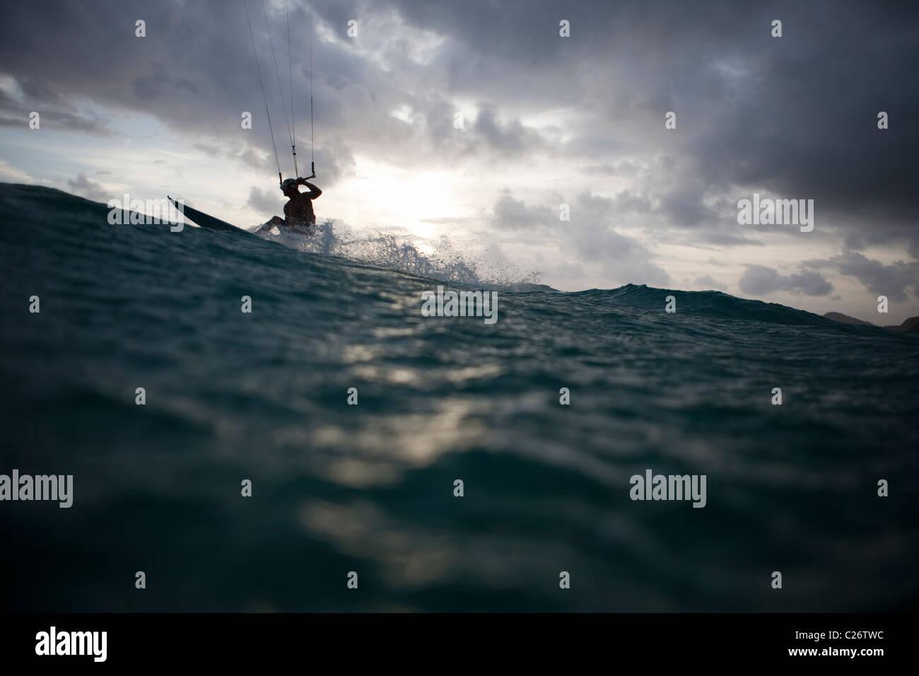 Kiteboarding Waimanalo @ Sunrise, male, Brad Osborn Stock Photo