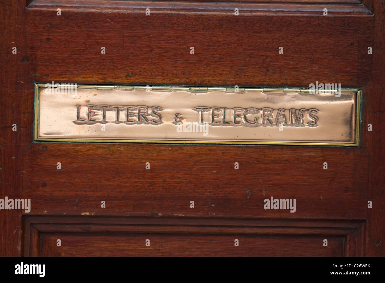 Letter and telegrams postbox letterbox, London - Stock Image