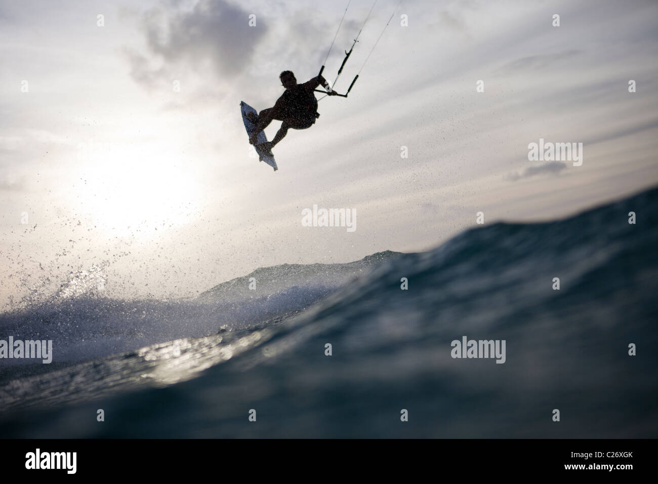 Kiteboarding Waimanalo @ Sunrise, male, David Giardini, airtime, jumping - Stock Image