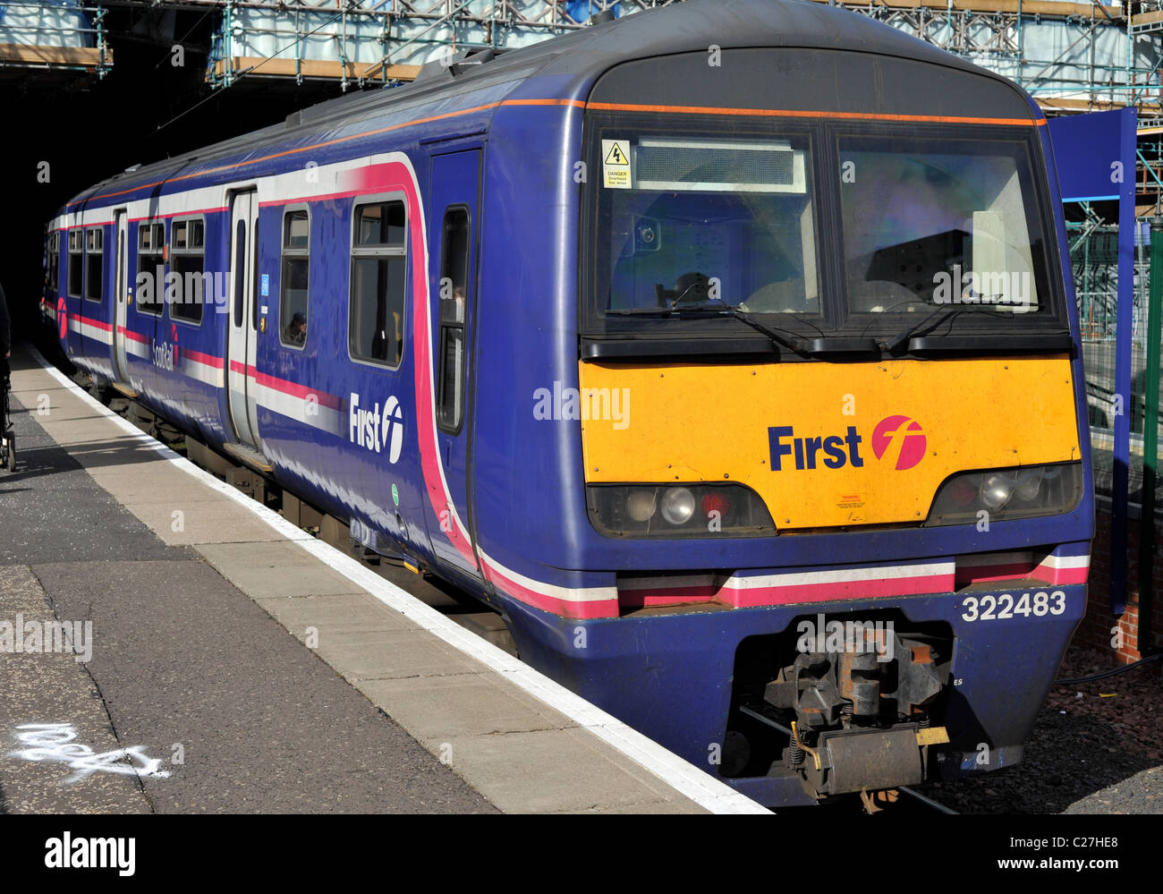 First Scotrail diesel Edinburgh Waverley Train Station  Scotrail train railway Scotland travel tourists tourism - Stock Image