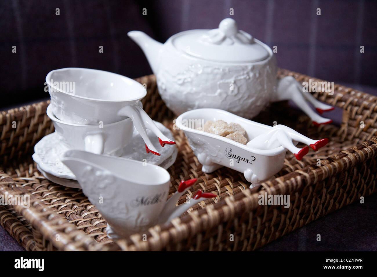 Blaue Blume tea set designed by Tina Tsang. - Stock Image