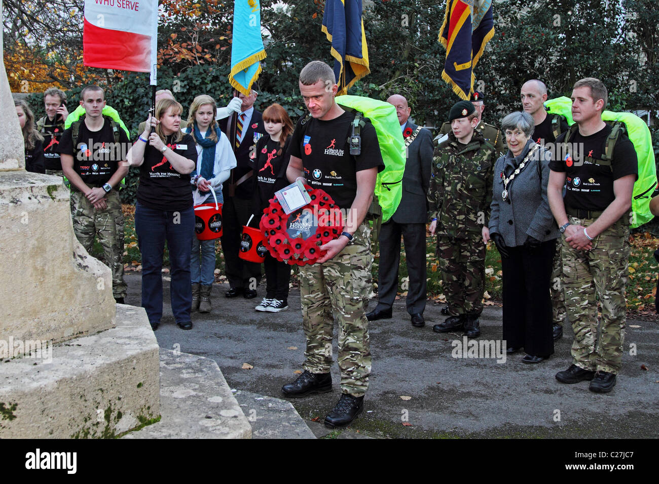March for honour Remembrance Day British army - Stock Image
