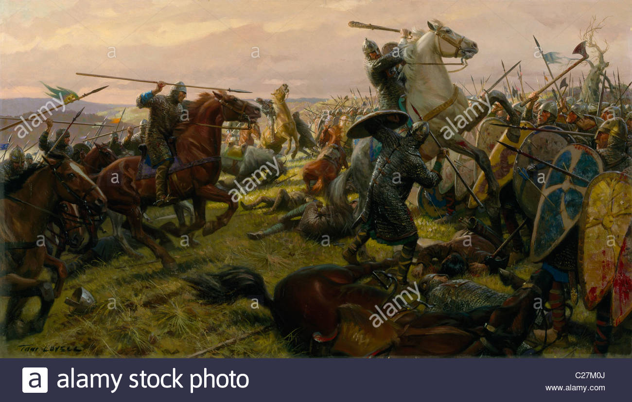 Oil painting of the Battle of Hastings. - Stock Image