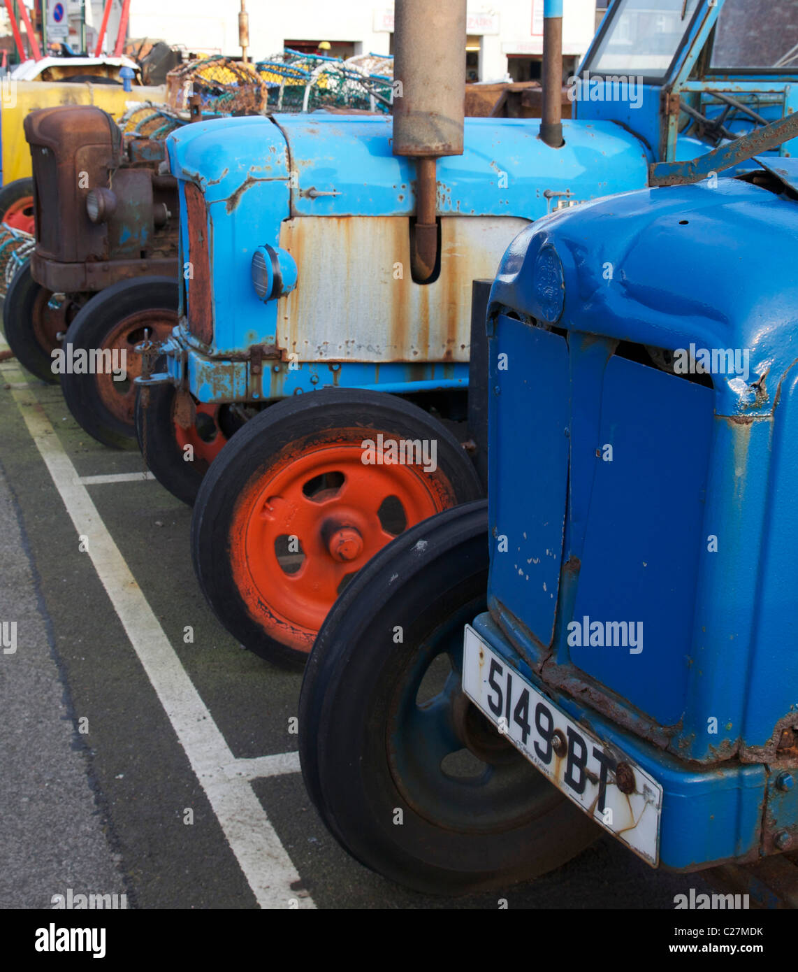 Fishermans tractors in Redcar, Teeside Stock Photo