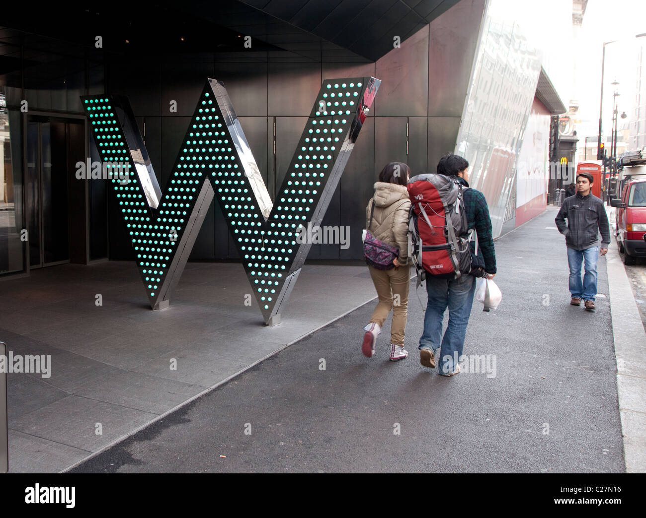Entrance to W hotel, Leicester Square, London - Stock Image