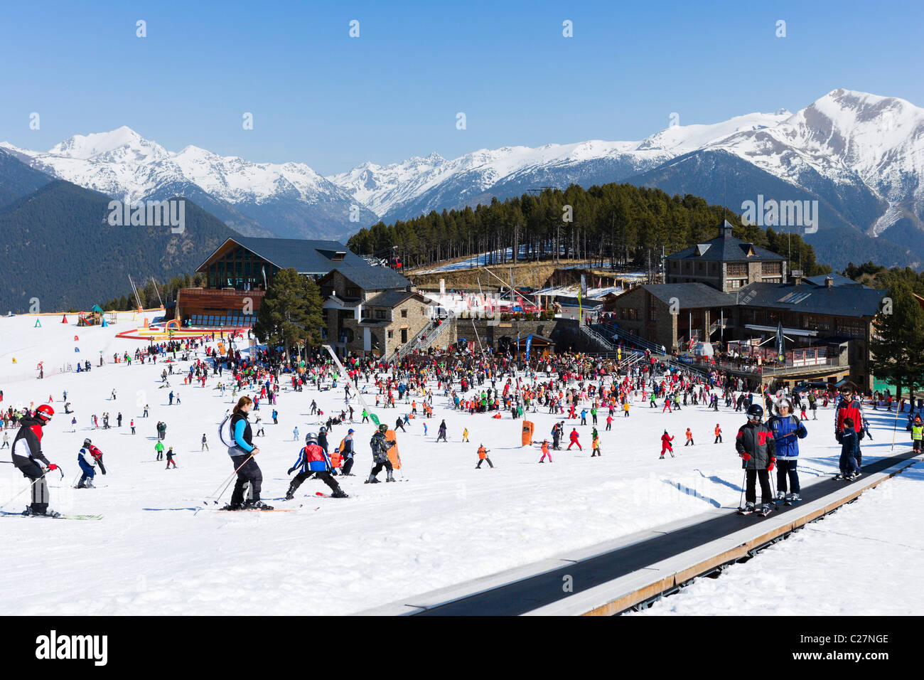 View over the nursery slopes in Pal with Magic Carpet lift in the foreground , Vallnord Ski Area, Andorra - Stock Image