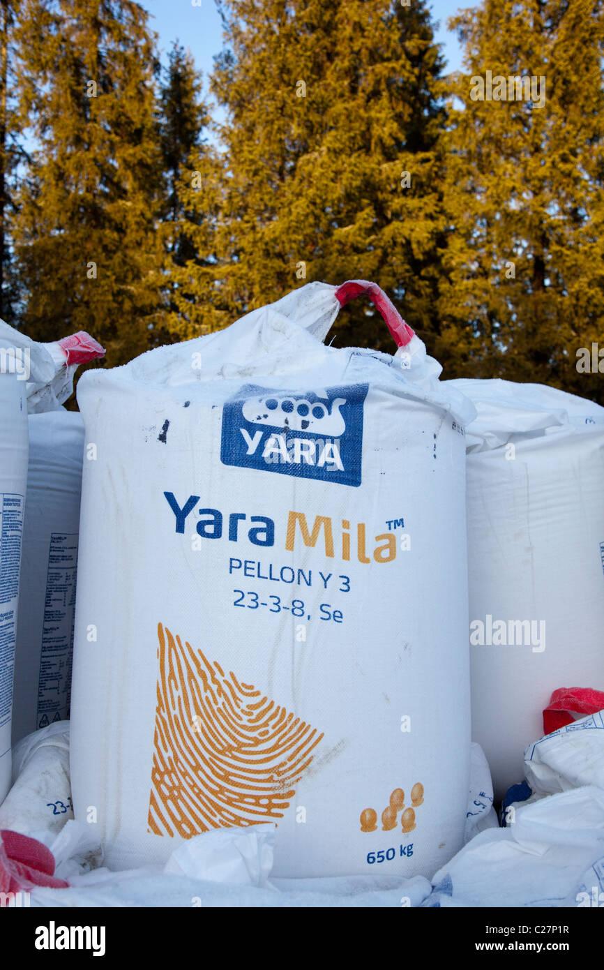 650 kilogram NPK fertilizers ( Yara Mila ) sack for agricultural use , fertilizing fields - Stock Image