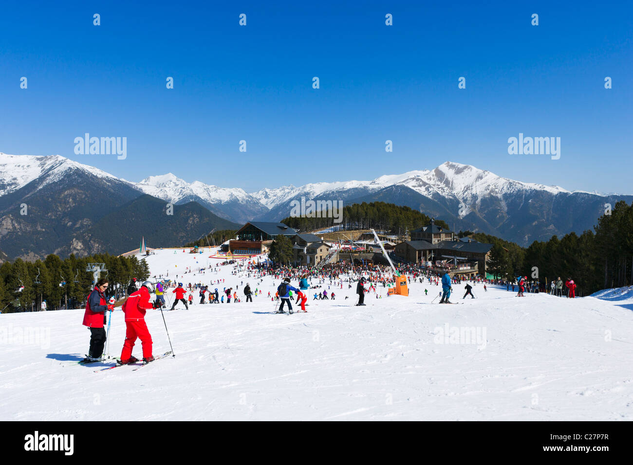 View down the nursery slopes in Pal, Vallnord Ski Area, Andorra - Stock Image