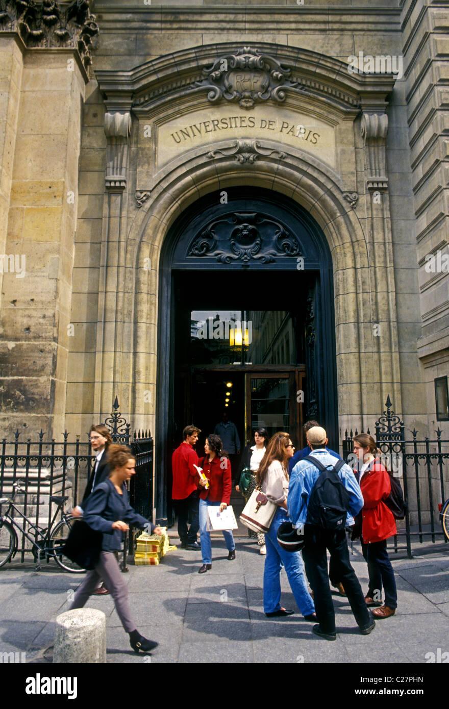 French college students, French, college students, students, Sorbonne, University of Paris, Universite de Paris, - Stock Image