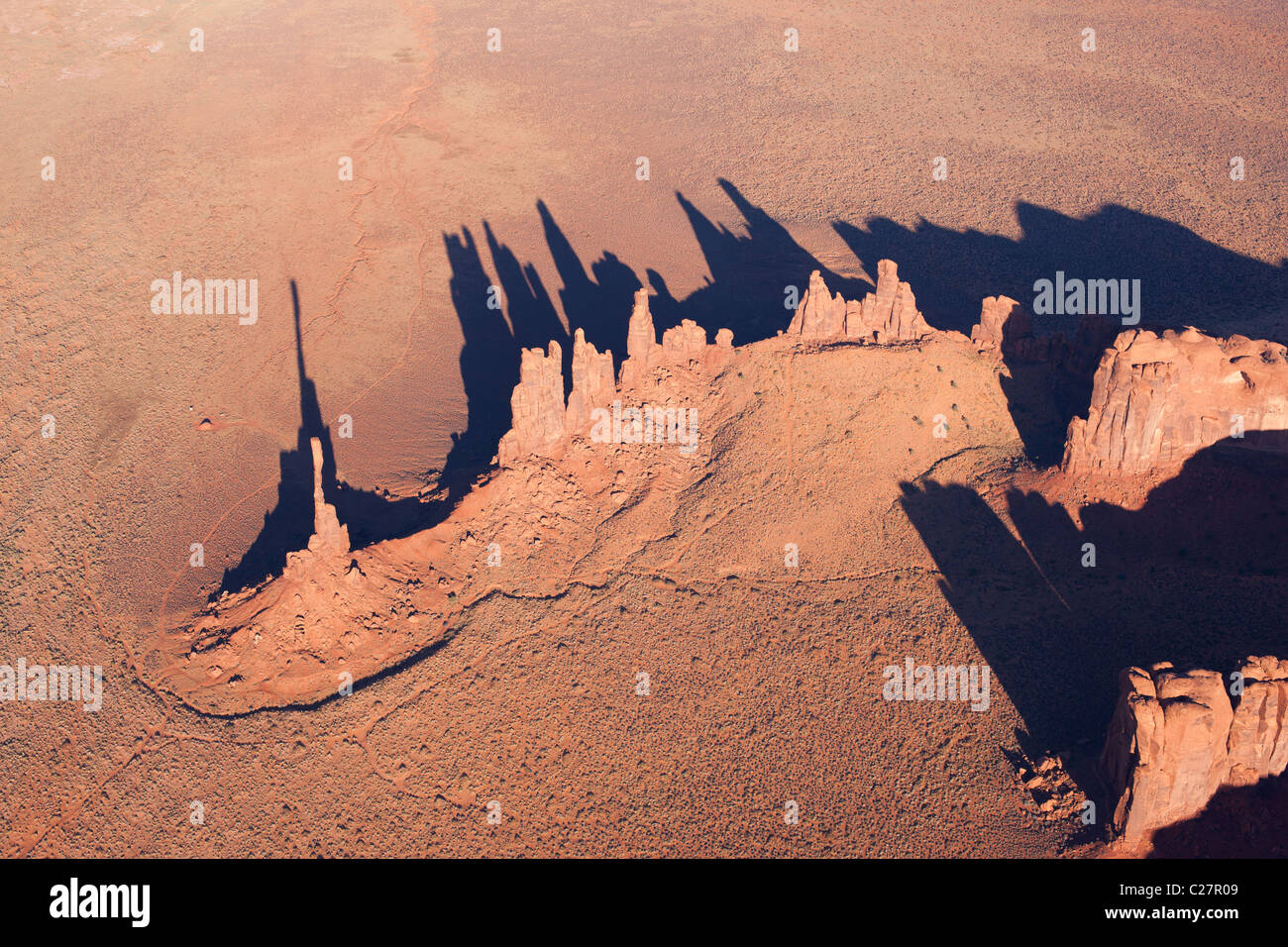 TOTEM POLE AND THE YEI BI CHEI (aerial view). Red sandstone pinnacles. Navajo Indian land, Arizona / Utah, USA. - Stock Image
