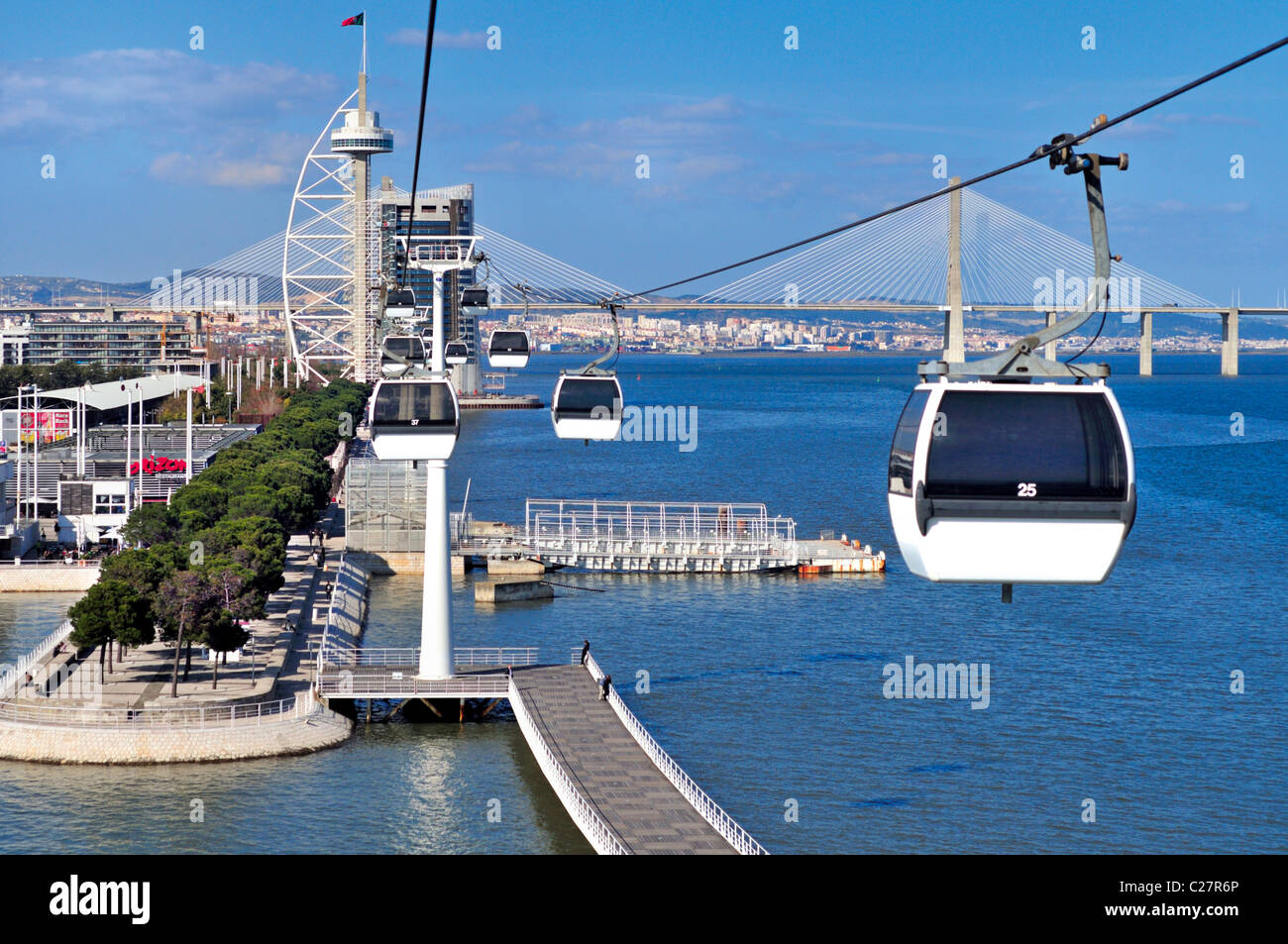 Portugal, Lisbon: Cable Car  with view to river Tagus in the Nation´s Park - Stock Image