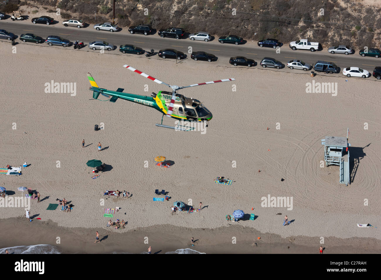 LOS ANGELES SHERIFF DEPARTMENT'S HELICOPTER (aerial view). Helicopter (as350 Eurocopter) patrolling the Malibu - Stock Image