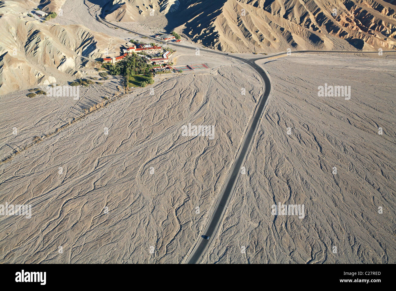 FURNACE CREEK INN (aerial view)  Hotel between a canyon outlet and