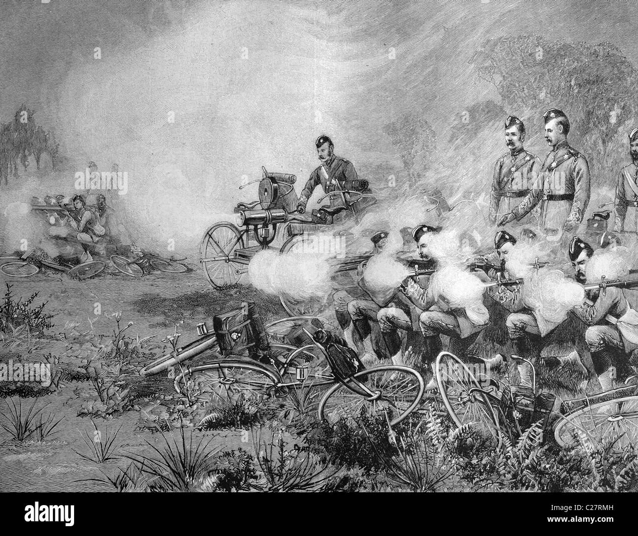 British soldiers with bicycles and rapid-fire guns, historical illustration, ca. 1893 - Stock Image