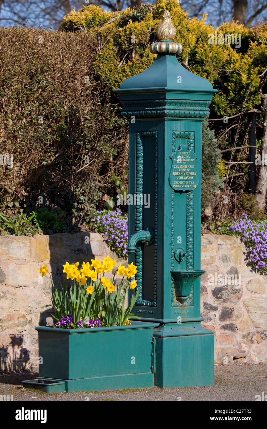 The Victorian village pump to commemorate Queen Victoria's Diamond Jubilee in 1897 Stanton-by-Dale Derbyshire - Stock Image