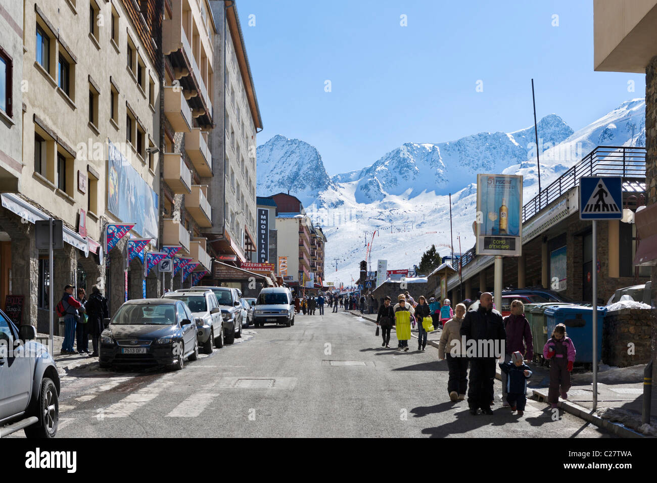 Centre of the resort of Pas de la Casa looking towards the slopes, Grandvalira Ski Area, Andorra - Stock Image