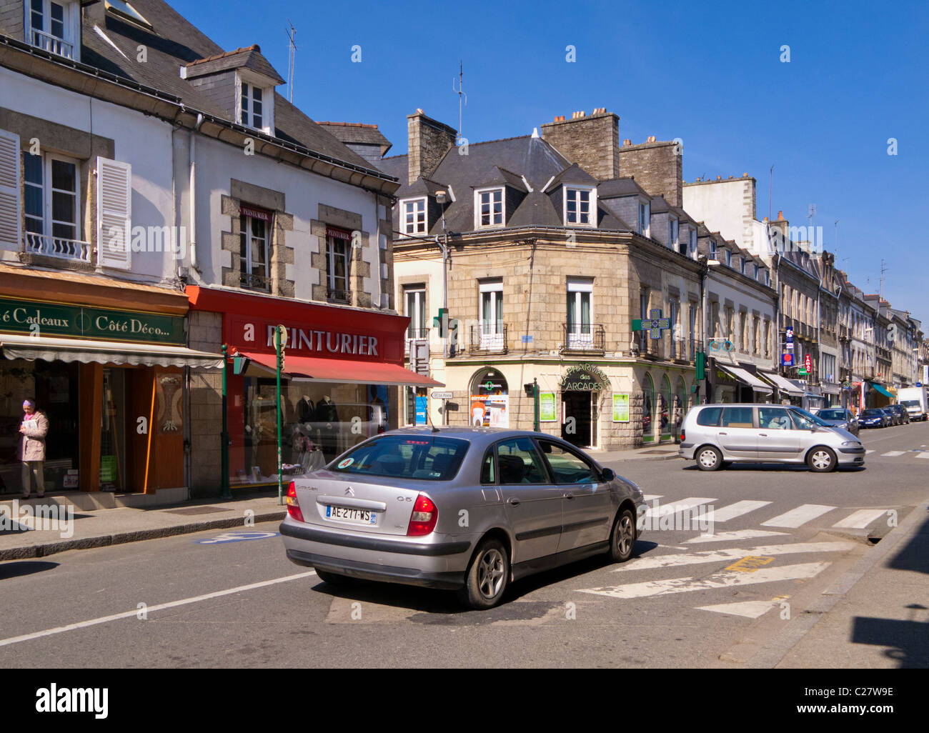 Shopping street and road junction, Pontivy, Morbihan, Brittany, France, Europe - Stock Image