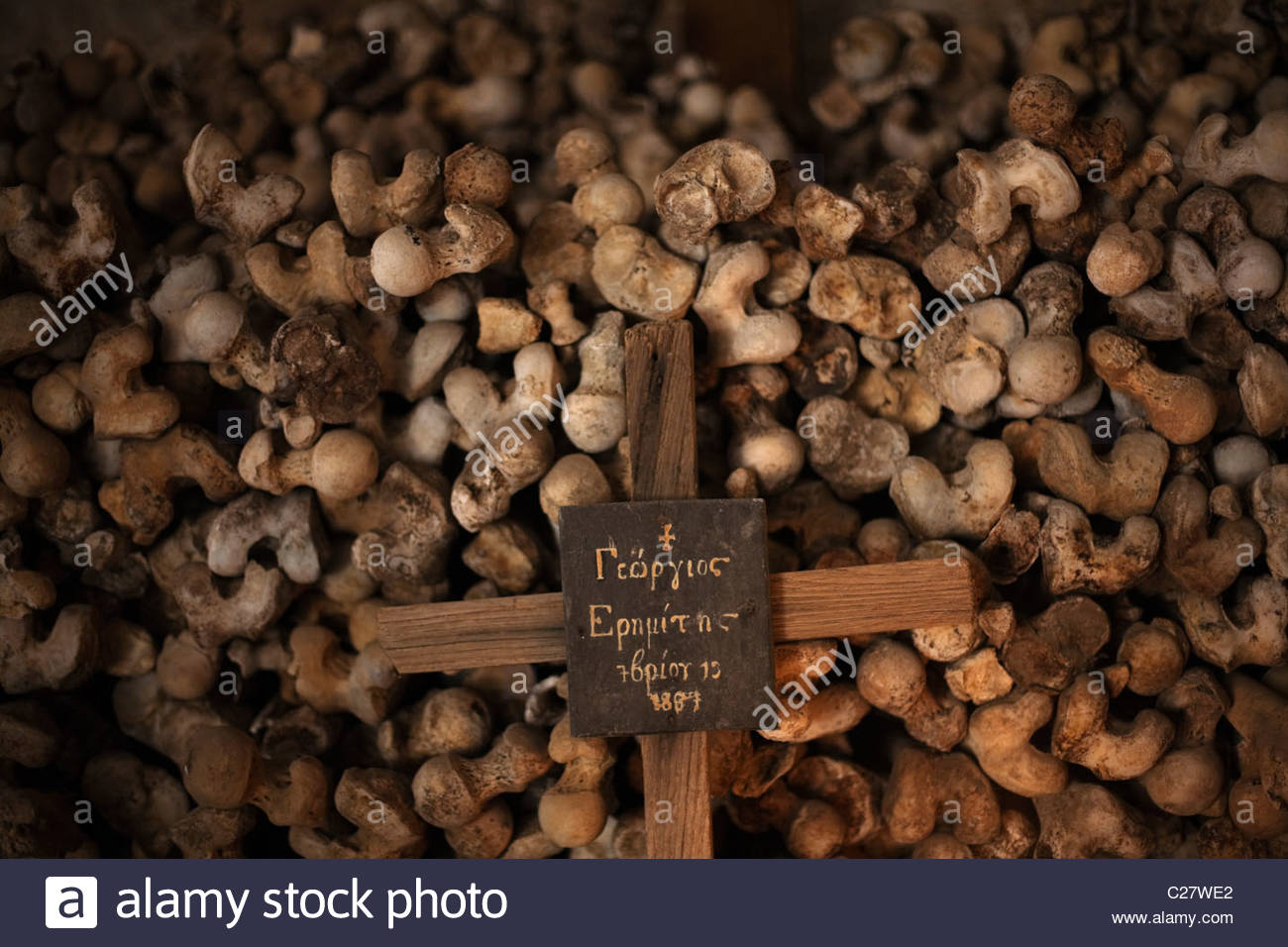 The remains of monks in the ossuary of the Xenofontos monastery. - Stock Image