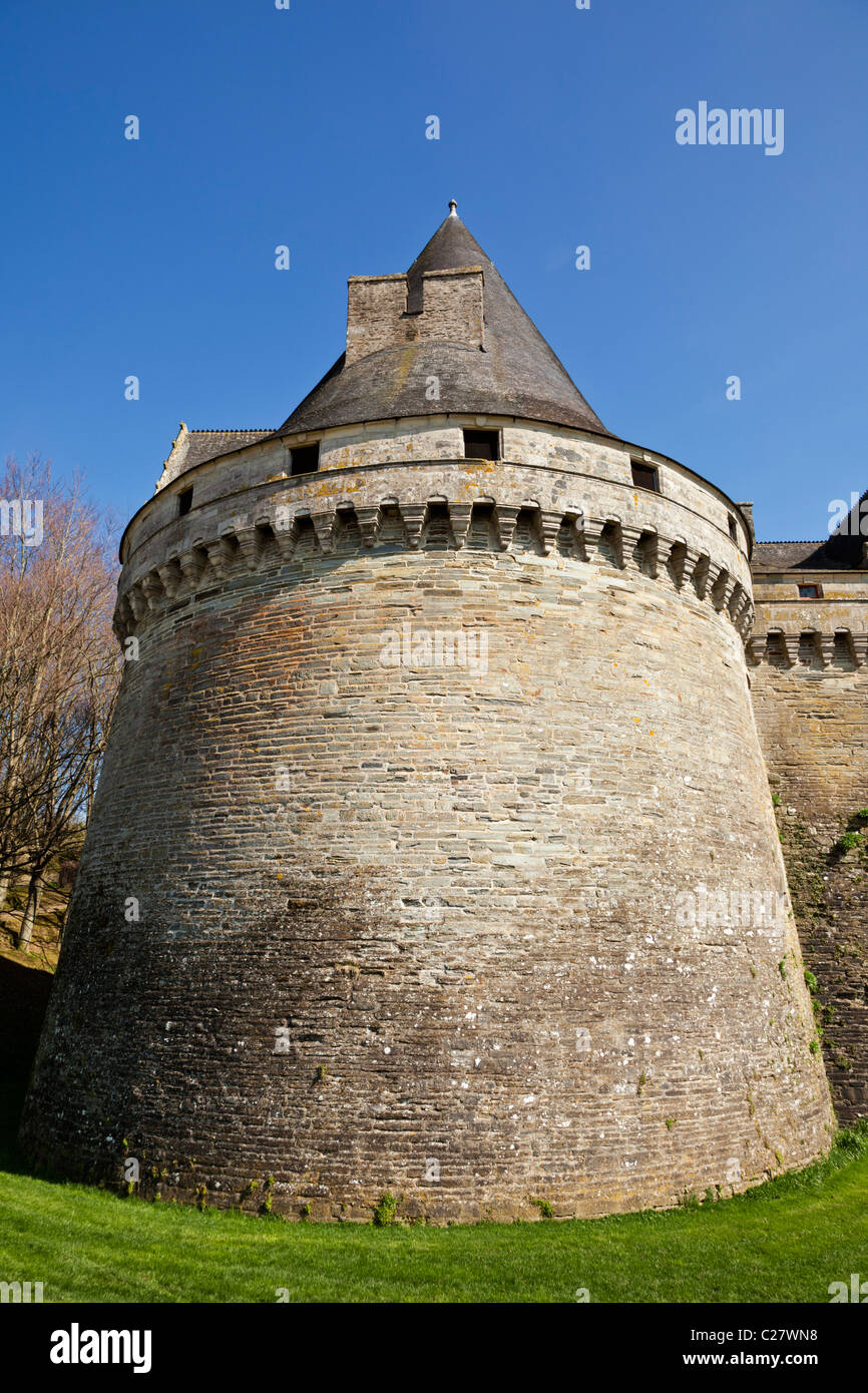 Turret at the Chateau des Rohan, Pontivy, Morbihan, Brittany, France, Europe - Stock Image