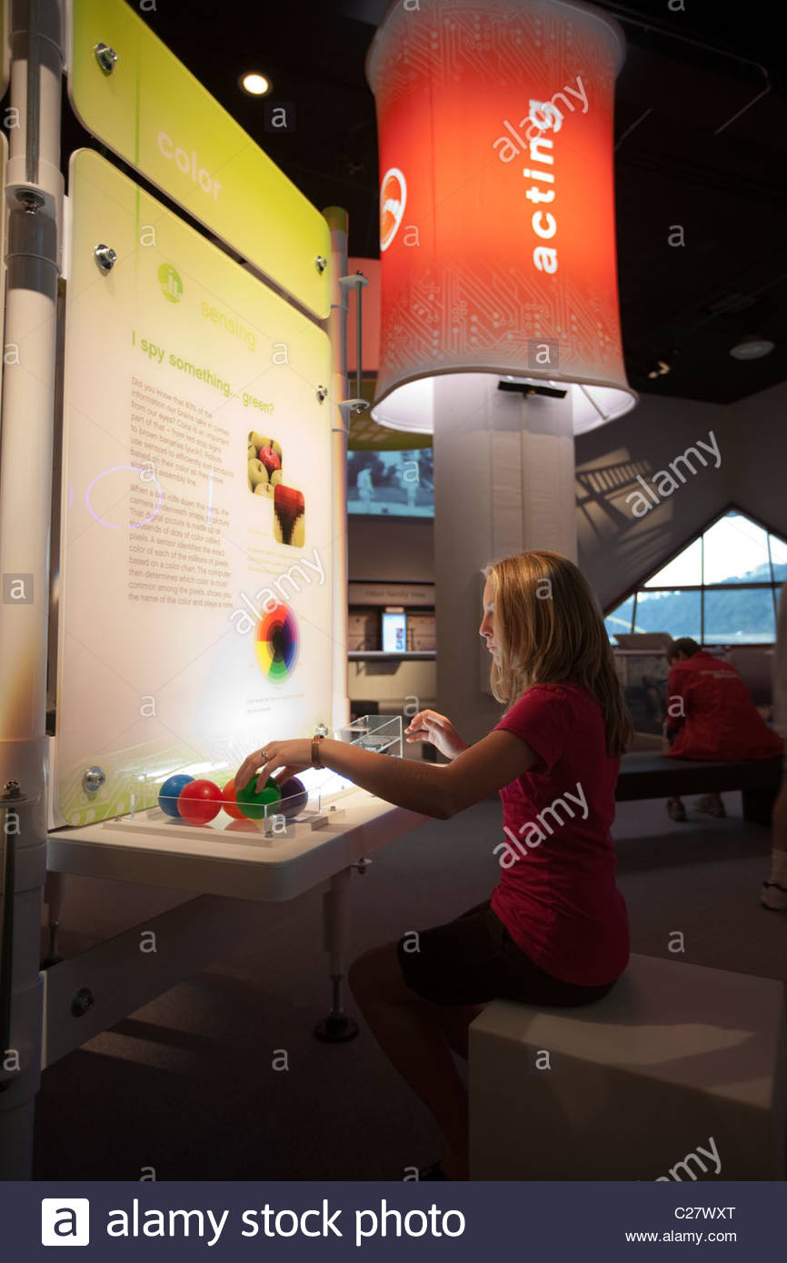 An exhibit about color perception at the Carnegie Science Center. - Stock Image