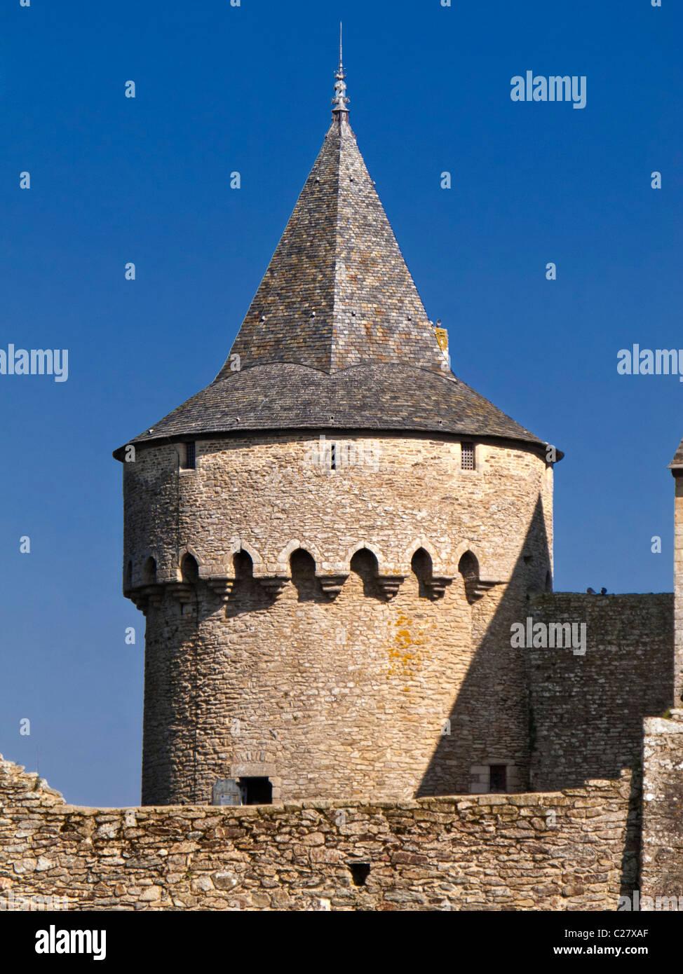 Turret, Château de Suscinio, Presqu'île de Rhuys, Morbihan, Brittany, France, Europe - Stock Image