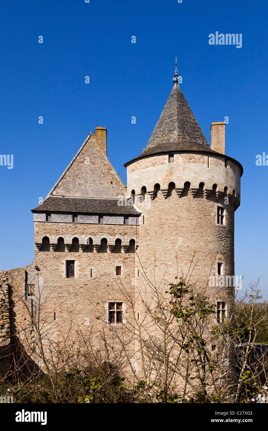 Turret, Château de Suscinio, Presqu'ile de Rhuys; Morbihan, Brittany, France, Europe - Stock Image