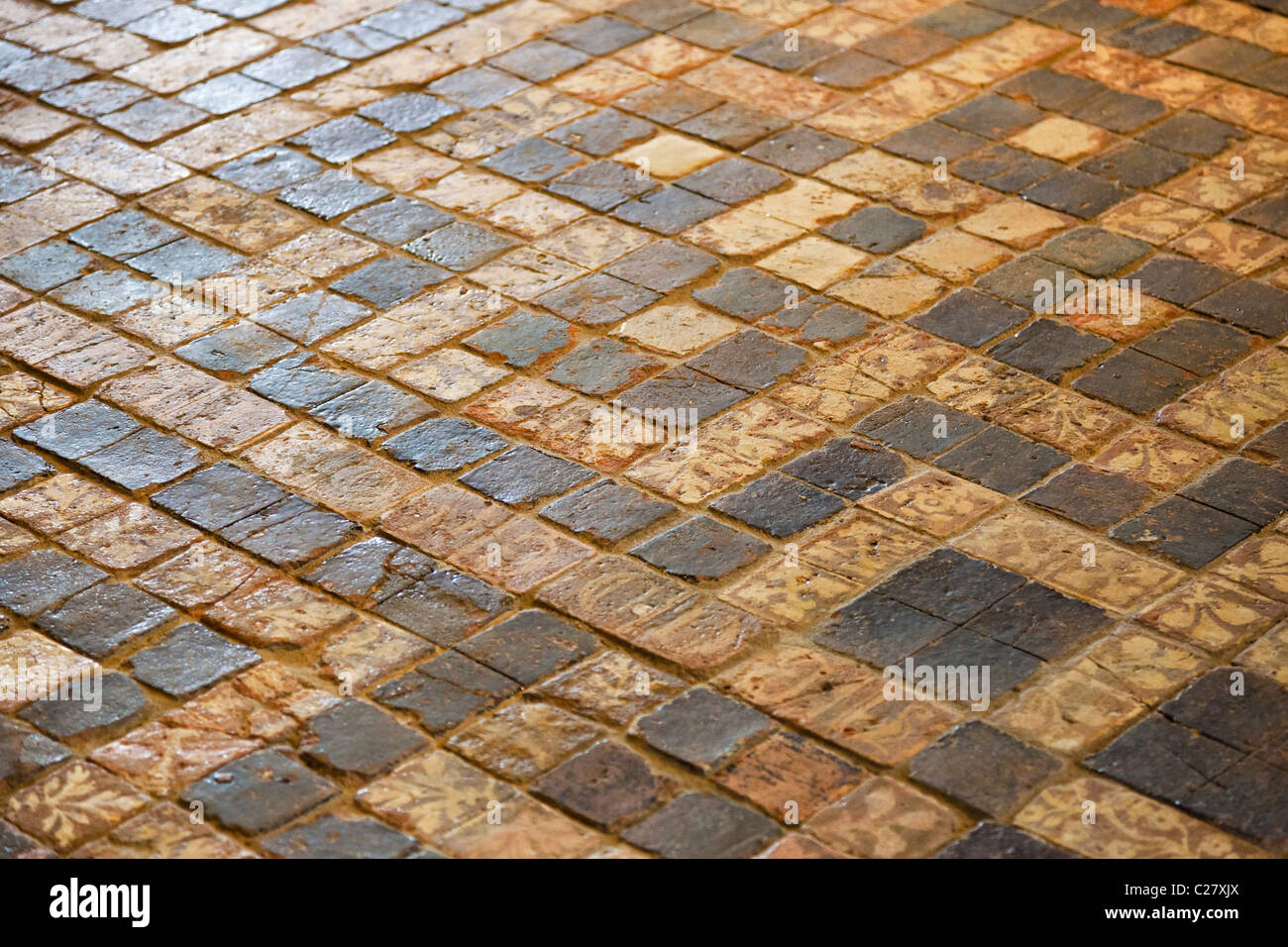 Detail of the original medieval mosaic floor tiles at Château de Suscinio, Morbihan, Brittany, France, Europe - Stock Image