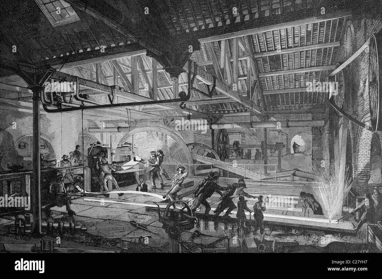 Smelting of railroad tracks, historical illustration, ca. 1893 - Stock Image