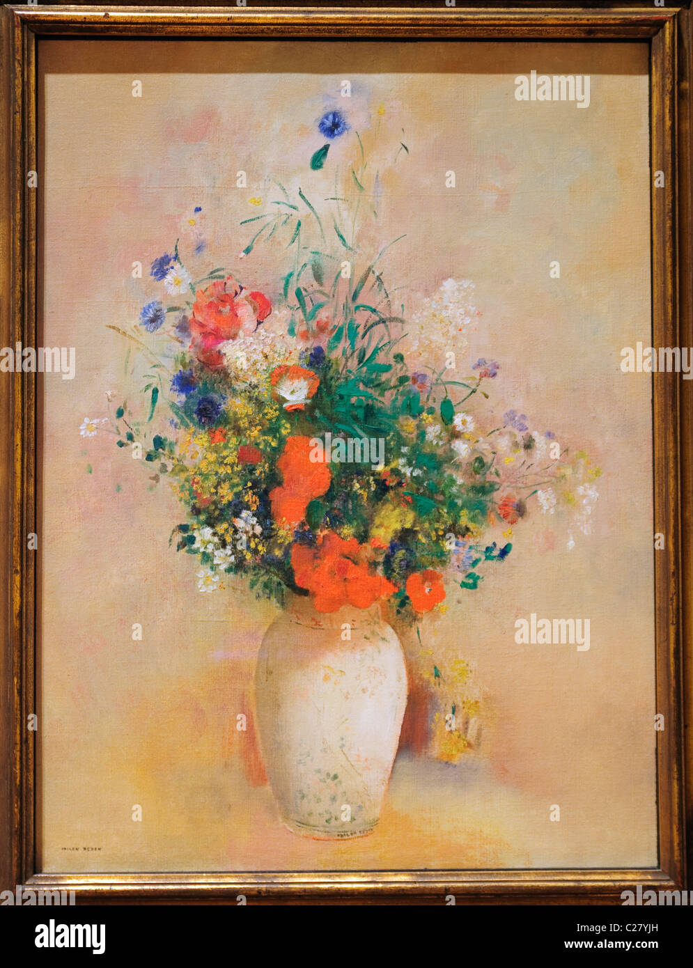 Vase of Flowers, (Pink Background), ca. 1906, by Odilon Redon, French, Stock Photo