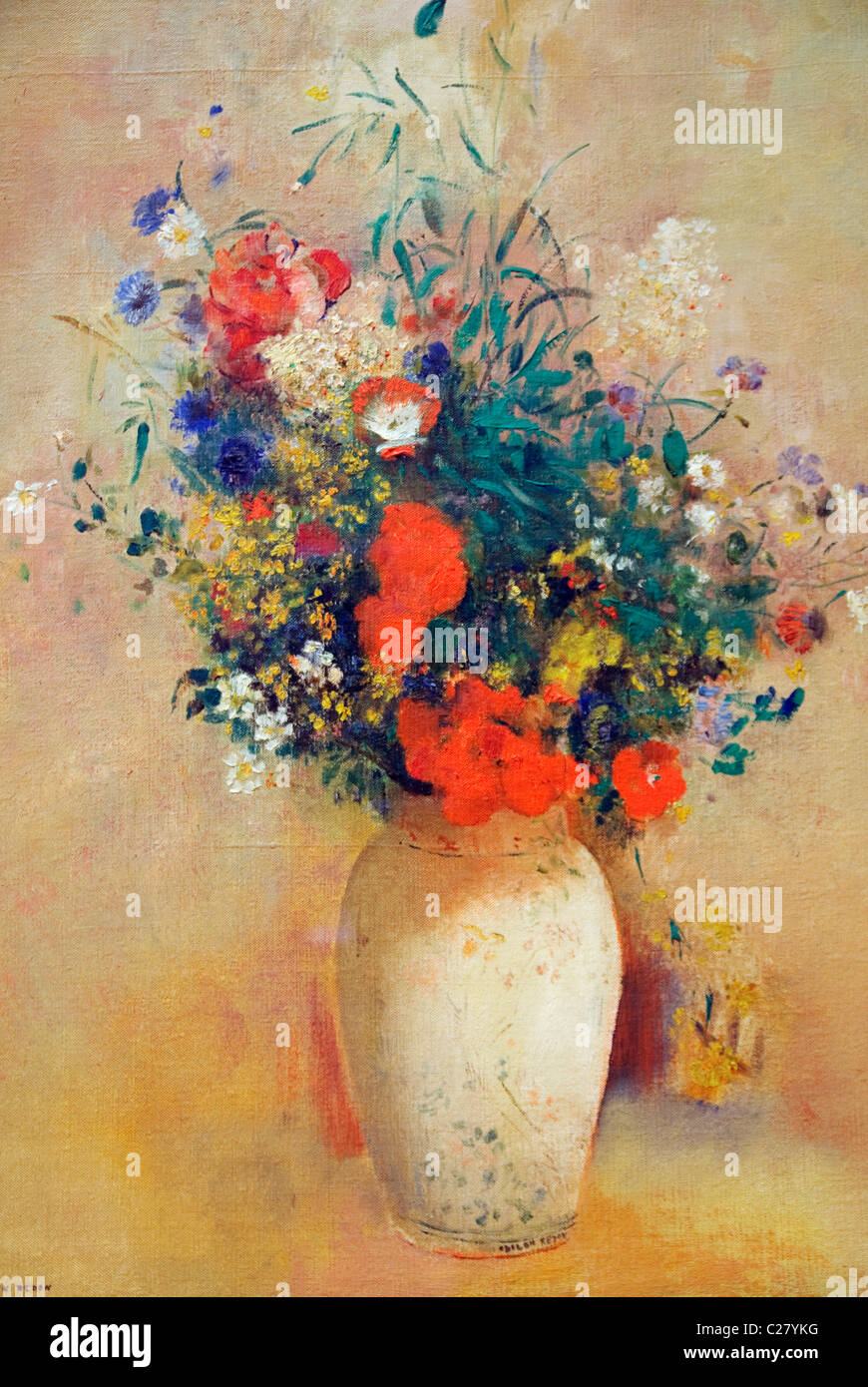 Detail: Vase of Flowers, (Pink Background), ca. 1906, by Odilon Redon, Stock Photo