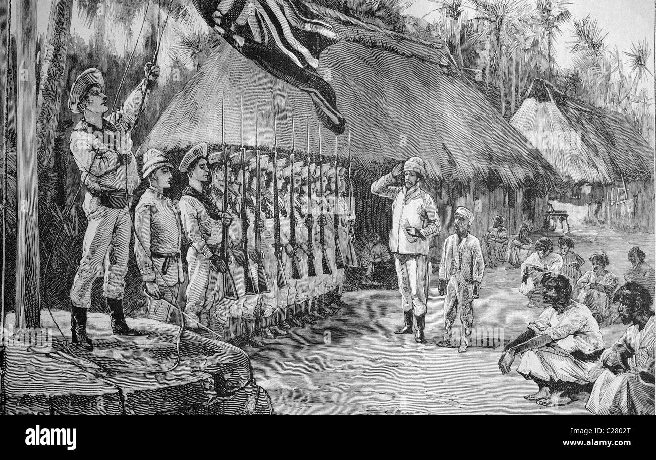 Seizure of the Silver Islands by the British, historical illustration, ca. 1893 Stock Photo