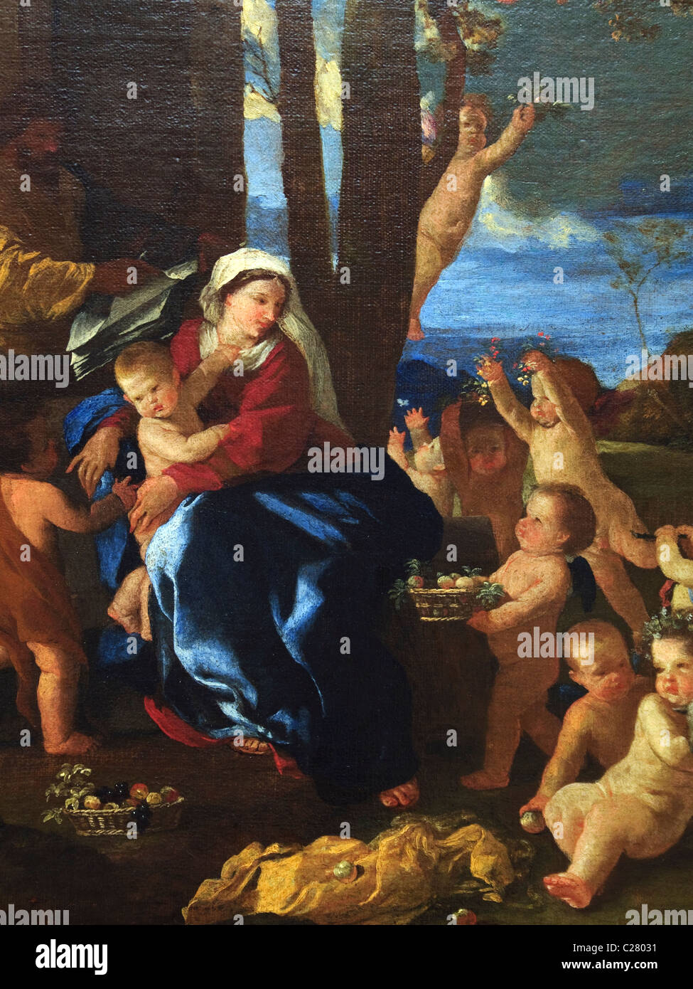 Detail: The Rest on the Flight into Egypt, ca. 1627, by Nicolas Poussin, - Stock Image