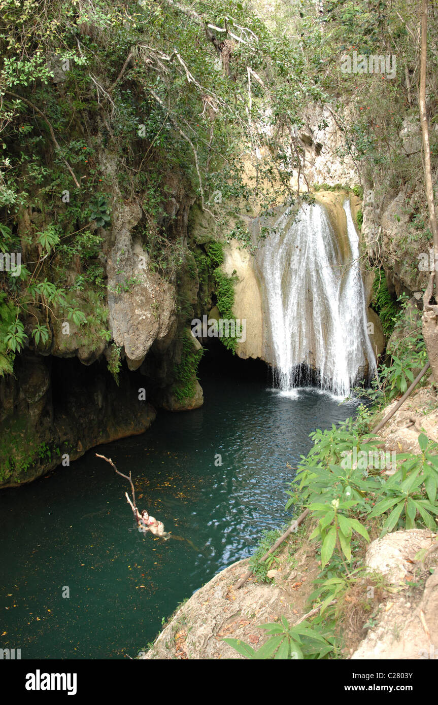 Hiking in the Topes de Collantes National Park Trinidad Cuba - Stock Image