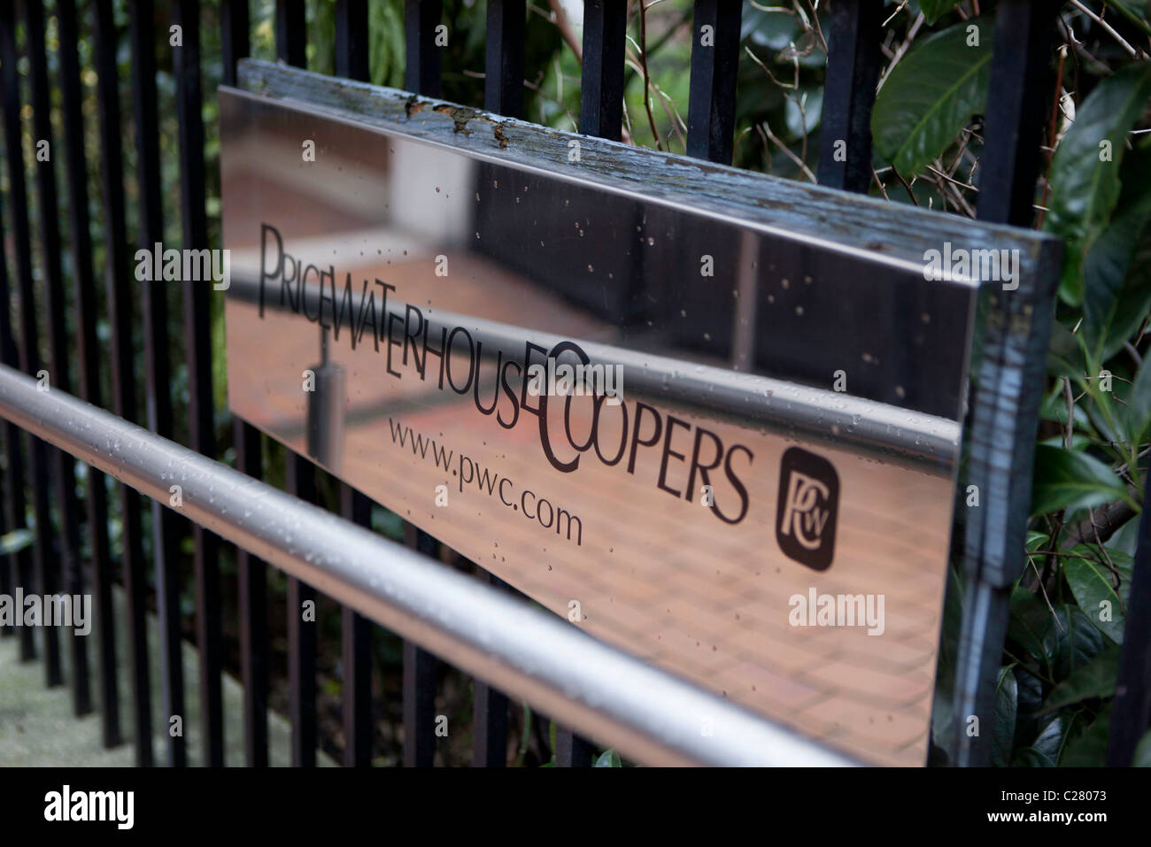 The sign to Price Waterhouse Coopers PWC. - Stock Image