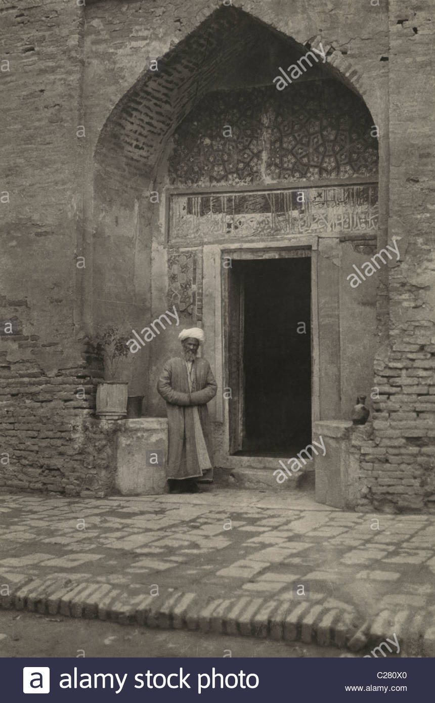 A man stands at the tomb of Timur the Lame. - Stock Image